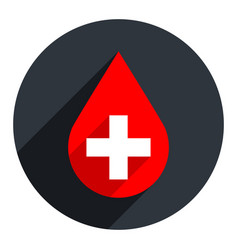 red drop icon first aid donate blood sign vector image