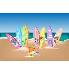 Set of Surfboards on A Beach vector image vector image