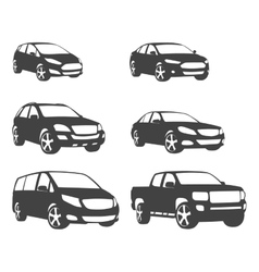 Sets of silhouette cars and on the road vehicle vector