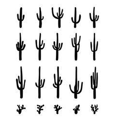 silhouettes of different cactus vector image