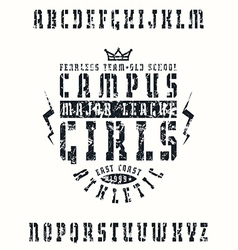 Stencil plate serif font in sport style vector