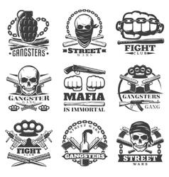 Street wars gangster emblem set vector