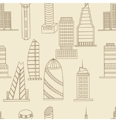 Tall buildings seamless retro vector image vector image