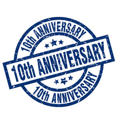10th anniversary blue round grunge stamp vector