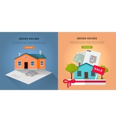 Set of design houses web banners vector