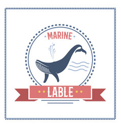 whale nautical and marine sailing themed label vector image