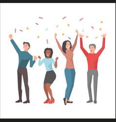Team celebrates successful startup vector