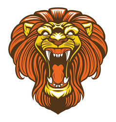 angry lion roaring mascot vector image