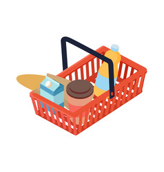 Supermarket basket with food isometric vector