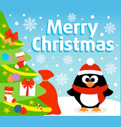 christmas background card with penguin vector image