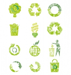 Grunge recycle icons vector