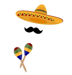 Sombrero maracas and mustache vector