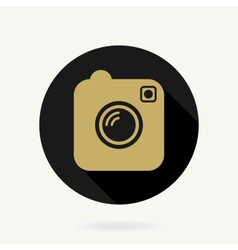 Camera Icon With Flat Design Black and Golden vector image