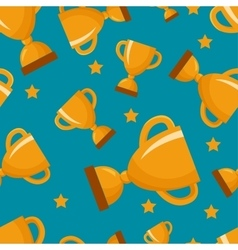 Seamless pattern with gold winners cup vector