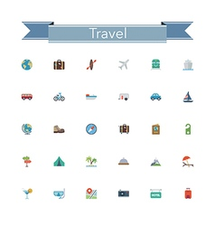 Travel Flat Icons vector image