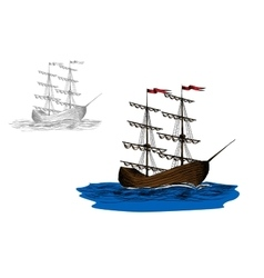 Sailing ship with furled sails on a blue sea vector