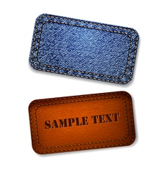 Jeans and leather label vector