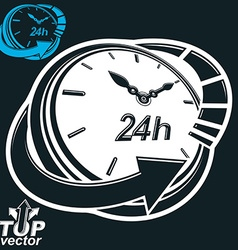 Black and white 3d 24 hours timer around-the-clock vector