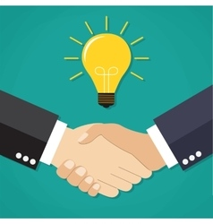 Two businessmen shake hands for a deal vector