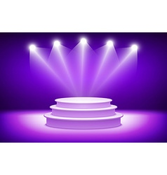 3d violet illuminated stage podium for award vector