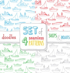 set of four seamless nautical patterns vector image
