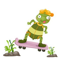 a turtles play skateboarding vector image vector image