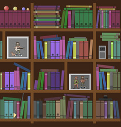 Bookshelves seamless texture vector