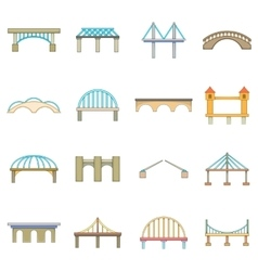 Bridge construction icons set cartoon style vector