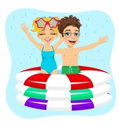 Brother and sister swimming in inflatable pool vector