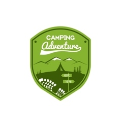 Camping adventure label vintage mountain winter vector