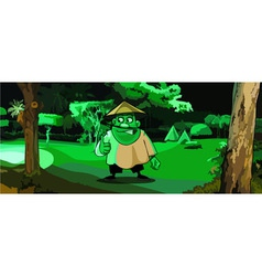 cartoon man in the Vietnamese hat in a park vector image
