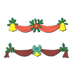 Christmas decoration with bells and bows vector image