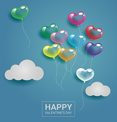 Colorful heart balloons with cloud on the sky for vector image vector image