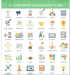 Corporate managment color flat icon set vector image vector image