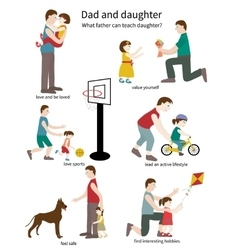 Dad and daughter vector image vector image