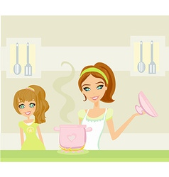 Daughter looking at her mother cooking vector image