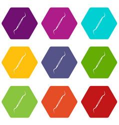 Dental instrument probe icon set color hexahedron vector