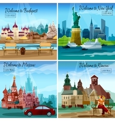 Famous cities set vector