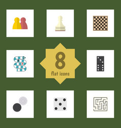 Flat icon games set of pawn chequer chess table vector