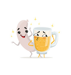 grilled sausage and mug of beer with happy faces vector image