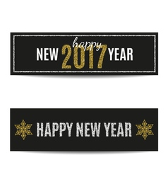 Happy new year 2017 banners silver text and golden vector