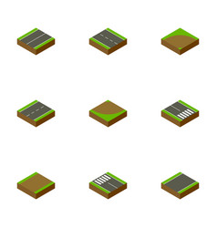 Isometric way set of strip pedestrian unilateral vector