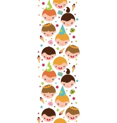 Kids at a birthday party vertical seamless pattern vector image vector image