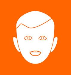 Little boy face white icon vector