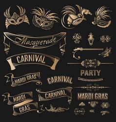 mardi gras vintage set vector image