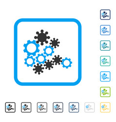 Mechanics gears framed icon vector