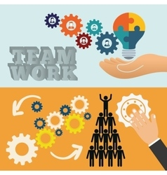 Pictogram gears hand teamwork design vector