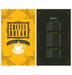 Price list and a cup of coffee vector