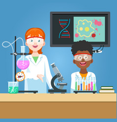 scientist and student in chemistry laboratory vector image