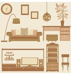 Set of furniture in livingroom vector image vector image